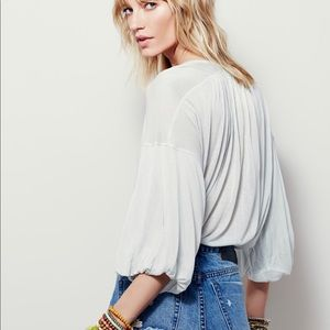 Free People Mint Green Oversized Peasant Blouse